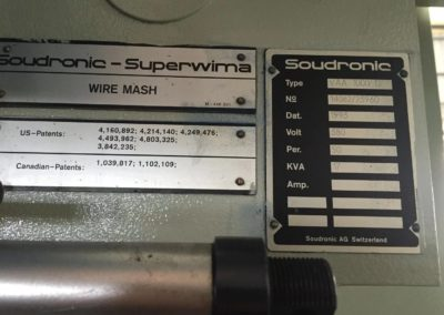 Soudronic VAA 1000 welder indification plate