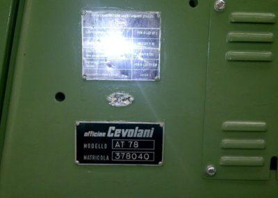 Cevolani AT78 Seamer indification plate