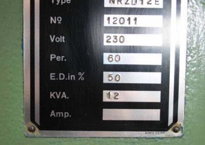 Soudronic NRZD 12 serial number